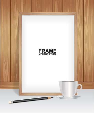 Wood frame with coffee and pencil
