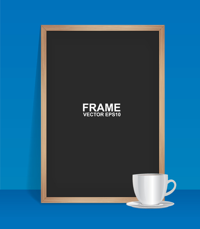 Wood frame with coffee Ilustrace