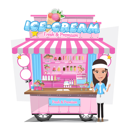 cart: Ice cream cart with seller. Design Elements.Vector Illustration Illustration