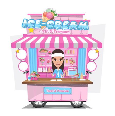 Ice cream cart with seller. Design Elements.Vector Illustration Illustration