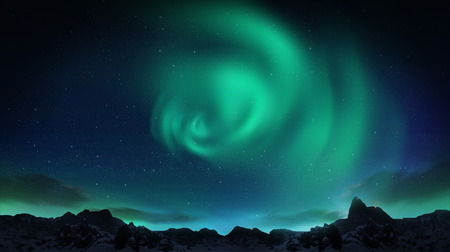 A beautiful green aurora dancing over the hills