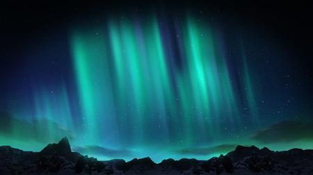 A beautiful green aurora dancing over the hills