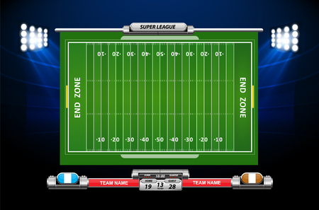 Vector of American football infographic elements on green field background. Ilustração