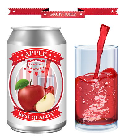 Apple juice Label vector visual, ideal for fruit juice. Can drawn with mesh tool. Fully adjustable & scalable. Vector illustration Ilustração
