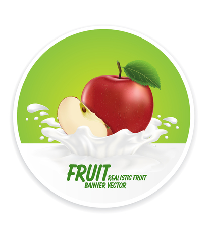 nonalcoholic: Colorful fresh fruits falling into the milky splash banner. Vector illustration Illustration