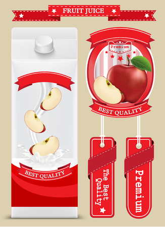 tool boxes: White carton boxes with Label vector visual, ideal for fruit juice. Can drawn with mesh tool. Fully adjustable scalable. packages design Illustration