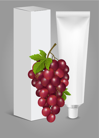 Tube Of Toothpaste, Cream Or Gel with Grapes. Ready For Your Design. Product Packing Vector EPS10