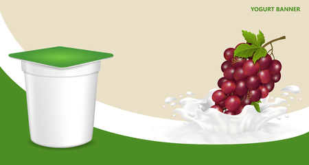 Background for design of packing yogurt with photo-realistic vector of Grapes.