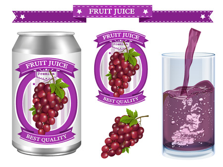Grapes juice Label vector visual, ideal for fruit juice. Can drawn with mesh tool. Fully adjustable & scalable. Vector illustration Ilustração
