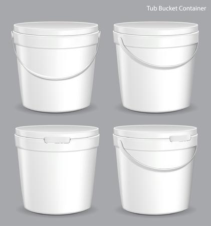 Recipiente de cubo de plástico de pintura de tina blanca. Yeso, masilla, tóner. Listo para su diseño.