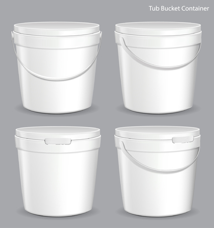 White Tub Paint Plastic Bucket Container. Plaster, Putty, Toner. Ready For Your Design.