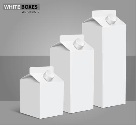 3d shape: Juice milk blank white carton boxes packages. vector illustration