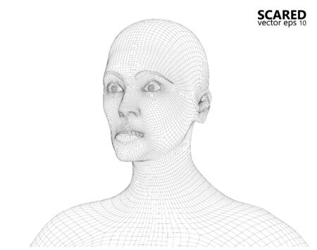 Wireframe of Concerned scared woman. 3d computer generated rendering.