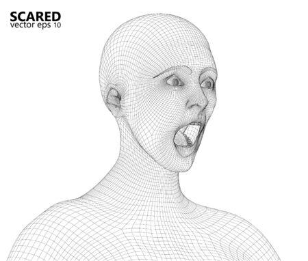 Wireframe de Concerned peur femme. rendu 3D généré par ordinateur.