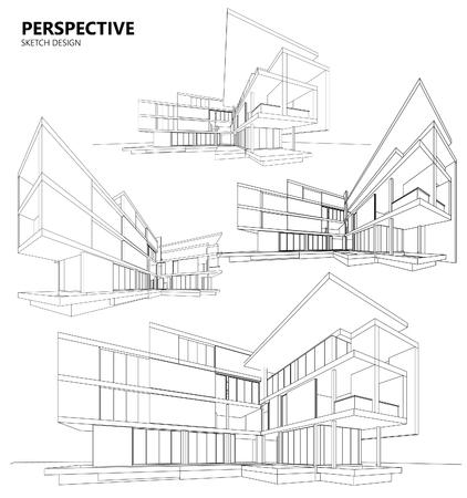 filaire 3D du bâtiment. conception de croquis. Vecteurs