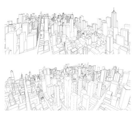 Cityscape Vector Sketch. Architecture - Illustration Vector Illustratie