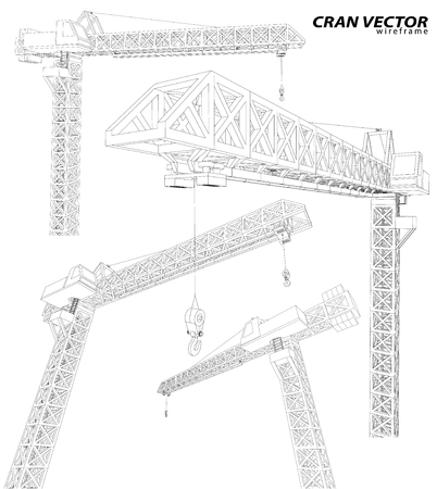 Building crane on the Architecture background. Ilustração