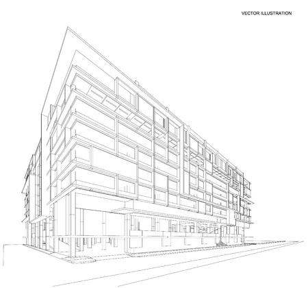 residential houses: 3d wireframe of building. sketch design.Vector