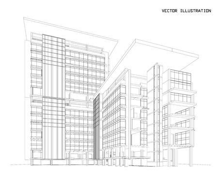 3D-Drahtmodell Des Gebäudes. Skizze Design.Vector Lizenzfrei ...