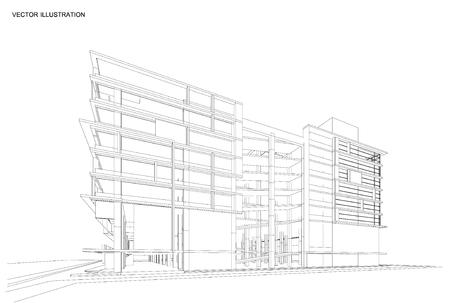 Perspective rendu 3D de la construction wireframe. Vecteurs