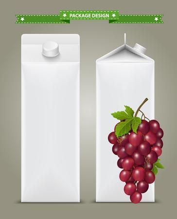 Caixas de papelão branco com etiqueta vetorial visual, ideal para suco de frutas. Pode desenhar com ferramenta de malha. Totalmente ajustável e escalável. Design de pacotes