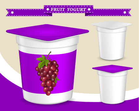 Vector. Background for design of packing yogurt with photo-realistic vector of Grapes.