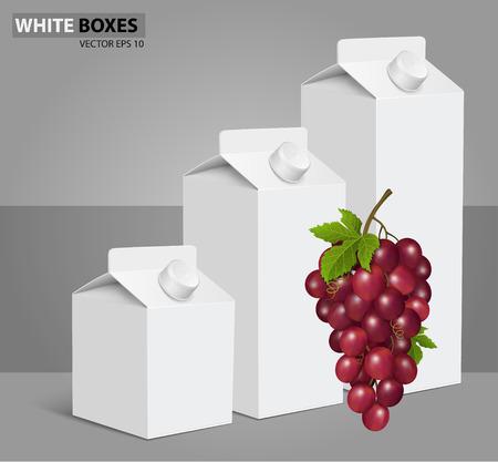 Cajas de cartón blanco con vector de etiqueta visual, ideal para zumo de fruta. Puede dibujado con la herramienta de malla. Totalmente ajustable y escalable. Diseño de paquetes