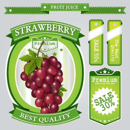 Grapes juice Label vector visual, ideal for fruit juice. Can drawn with mesh tool. Fully adjustable & scalable. Vector illustration Illustration