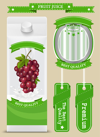 fruit juice: White carton boxes with Label vector visual, ideal for fruit juice. Can drawn with mesh tool. Fully adjustable & scalable. packages design
