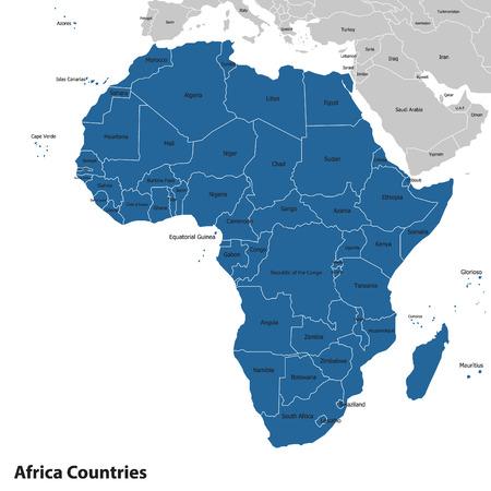 Afrika-zeer gedetailleerde map.editable lagen. Vector kaarten Stock Illustratie