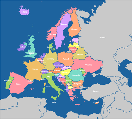 Detailed vector map of the Europe Illustration