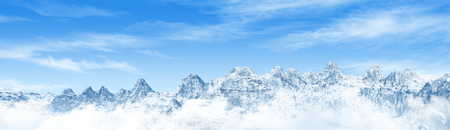 Panorama of Snow Mountain Range Landscape with Blue Sky. 3d render