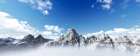 beautiful over mountains. 3d render Imagens