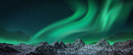auroral: A beautiful green aurora dancing over the hills. 3d render realistic