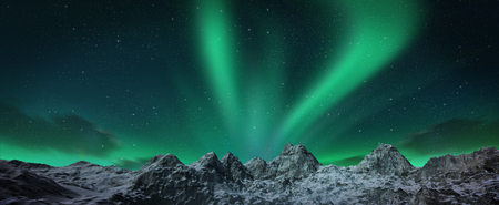 geomagnetic: A beautiful green aurora dancing over the hills. 3d render realistic