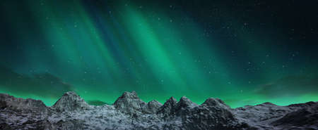 A beautiful green and red aurora dancing over the hills