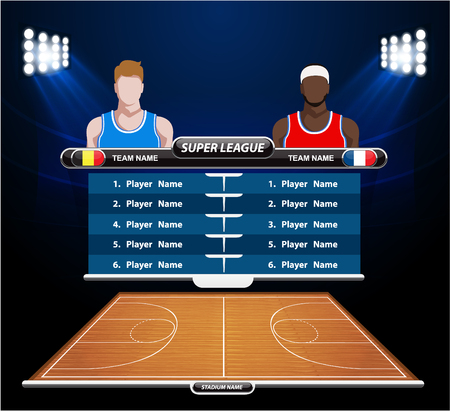floor ball: Basketball court with statistics elements. Vector illustration.