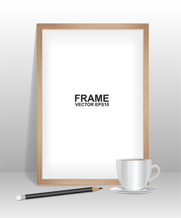 art museum: Wood frame with coffee and pencil