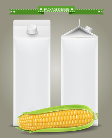 corncob: Corn Juice, Blank carton boxes packages with Corn. vector illustration