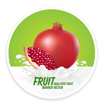 pomegranate or garnet juice Label vector visual, ideal for fruit juice. Drawn with mesh tool. Fully adjustable & scalable. Vector illustration Illustration