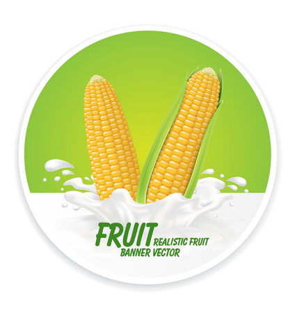 Corn juice Label vector visual, ideal for fruit juice. Drawn with mesh tool. Fully adjustable & scalable. Vector illustration Illustration
