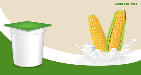 Vector. Background for design of packing yogurt with photo-realistic vector of Corn.
