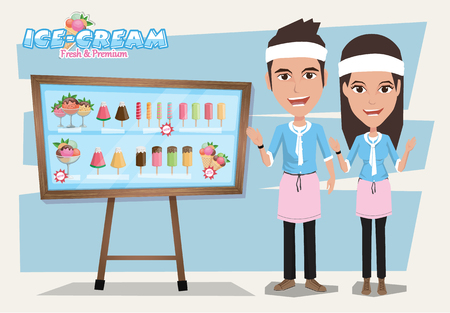 carretto gelati: negozio di gelati con elementi di design. Illustrazione di stile piatto. Illustrazione Vettoriale