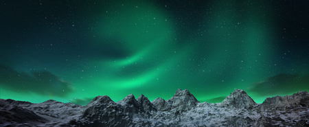 polaris: A beautiful green and red aurora dancing over the hills