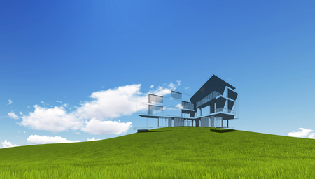 Wireframe Building on green grass and blue sky. Extremely high detailed quality render. Copyspace. Green landscapes collection