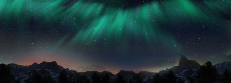 Colorful Northern Lights over starry night sky 写真素材