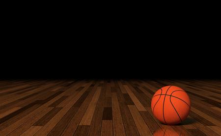 Basketball on Court. Stock Photo
