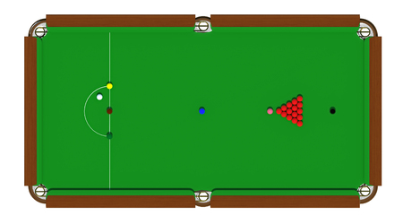 The snooker table with a cue and balls isolated on a white background. 3d render Archivio Fotografico - 101129780