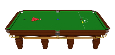The snooker table with a cue and balls isolated on a white background. 3d render