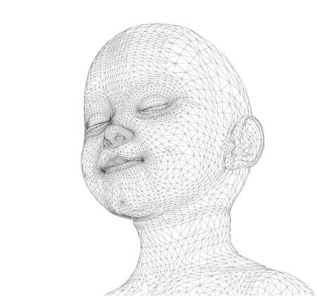 3d Cute boy. wireframe Illustration